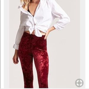 Burgundy Velvet Leggings Size Medium